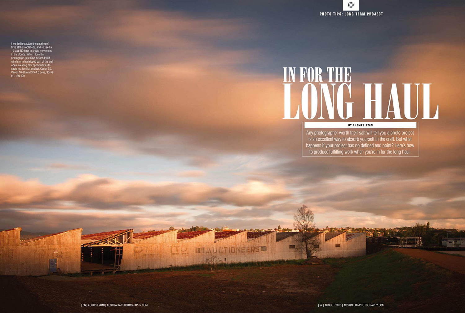 Australian Photography Magazine, Eight page story and photographic tips on how to undertake a long term project. This story features my Silos & Woolsheds project in Launceston.