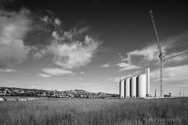 "Silos & Woolsheds Project  Captured for my 10+ year project ""Silos and Woolsheds"" in Launceston, this scene now looks radically altered. Photography is so important for posterity; to be reminded of our past. This particular afternoon was awesome for making photographs. Storm clouds were rolling in and the summer grass had grown quite high. Getting down low and shooting through the grass allowed me to capture the silos, Woolsheds and those beautiful clouds.  #tasmania #architecture #development #launcestontasmania #invermay #siloslaunceston #silos #industrialarchitecture #woolsheds #poppies #ausphotomag #capturemagazine #longtermproject #crane #architecturedaily #posterity #modernism #midcenturymodern #concrete #demolition #heritage #concrete"