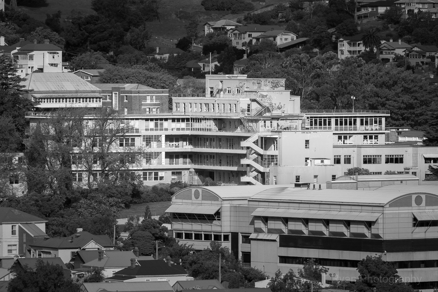 A view of the abandoned Launceston General Hospital I captured before redevelopment in 2007. Note the stunning spiral staircase which was demolished as part of the redevelopment. The current hospital can be seen in the foreground.