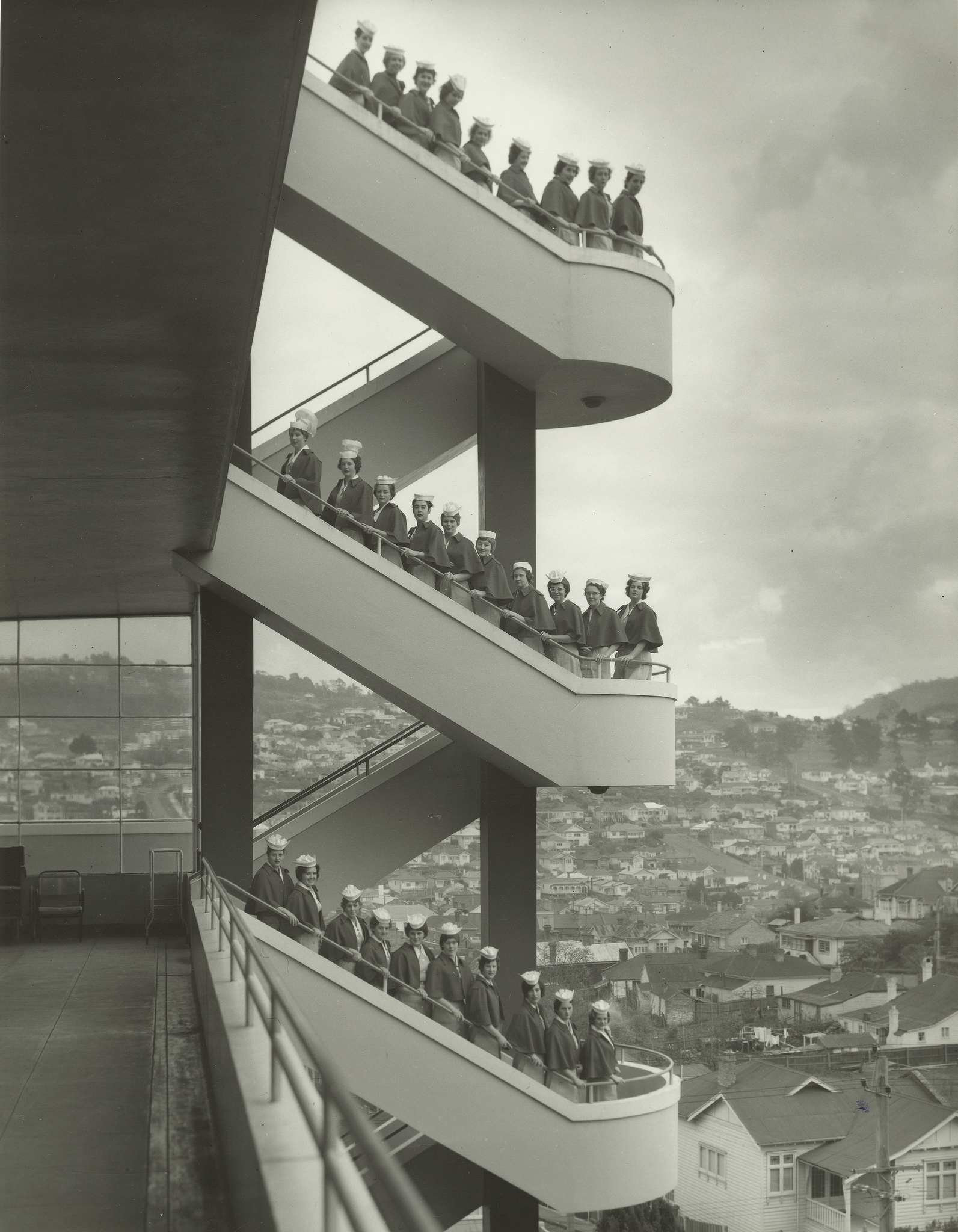 One of my favourite archive photographs of the old hospital staircase captured in the 1960s. A powerful composition through use of geometry and subject. Tasmanian Archive and Heritage Office: From the AB641 series