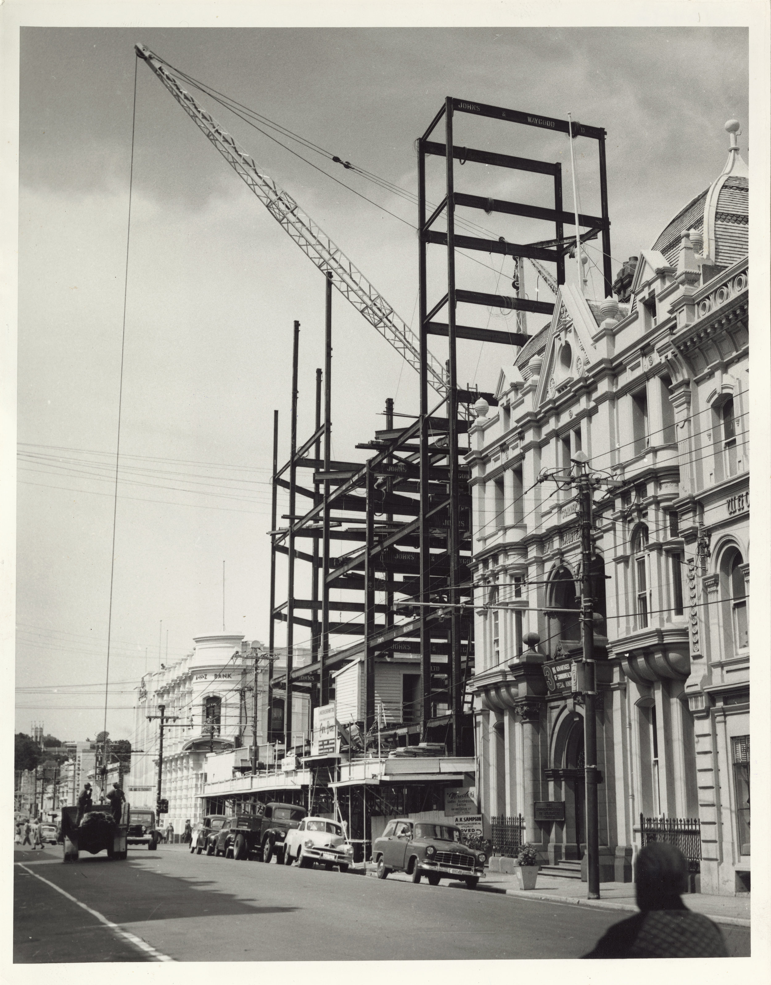 View of the Cox Brothers (then Myer) department store under construction. Source: Tasmanian Archive and Heritage Office: From the PH30 series