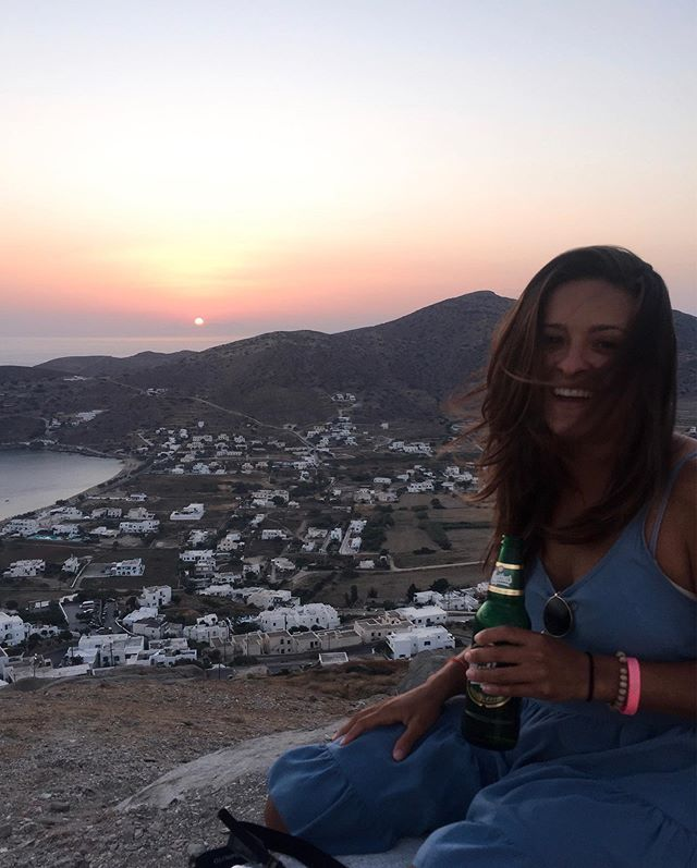 One last Mythos for the sunset lover 🍻 | #sandyinios #europeansummer . . . . . #iosisland #iosgreece #greeksummer #visitgreece #ilovegreece #greece #sunset #sunsetlover #goldenhour #mytravelgram #traveldiary #littlestoriesofmylife #whereitravel #takemeanywhere #travelislife #sharetravelpics #stayandwander #postcardfromtheworld #femmetravel #sheisnotlost #girlsborntotravel #alwaysgo #wearetravelgirls #dametraveler #girlmeetsglobe #ladiesgoneglobal #girlsthatwander #girlslovetravel