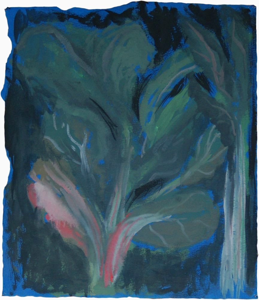 "Rainbow Chard Study. Oil on blue printmaking paper. Apx. 24"" x 16""."