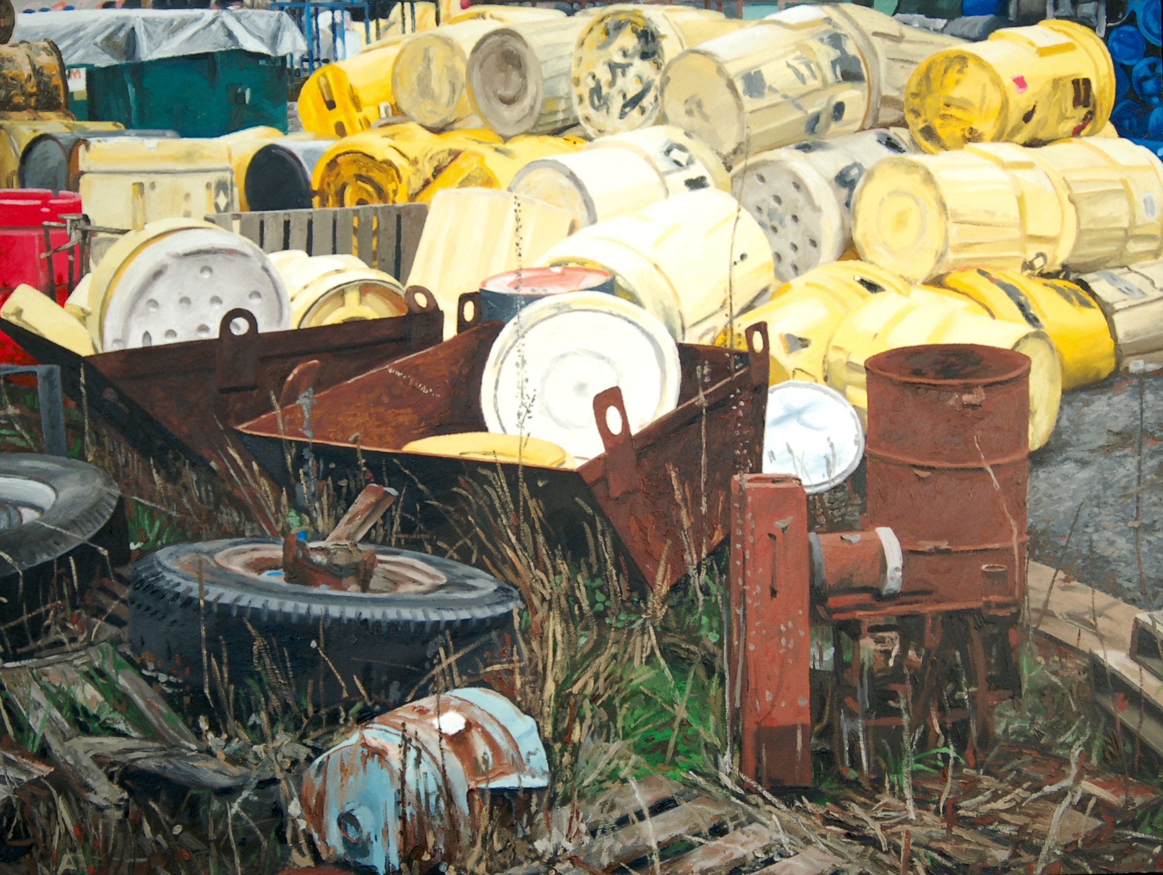 "Drums. Oil on Canvas. 30"" x 40"". (Private collection)."