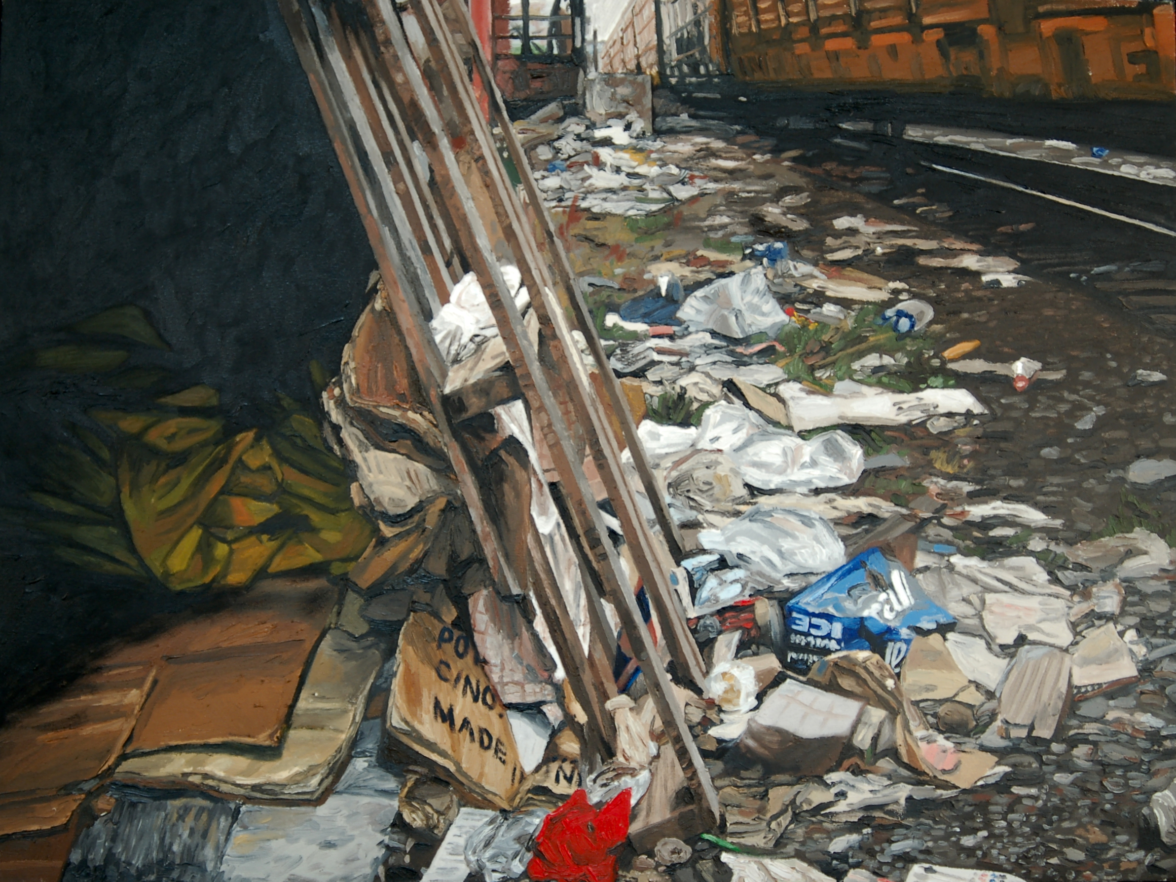 "Lean To. Oil on canvas. 30"" x 40"". (Private collection)."