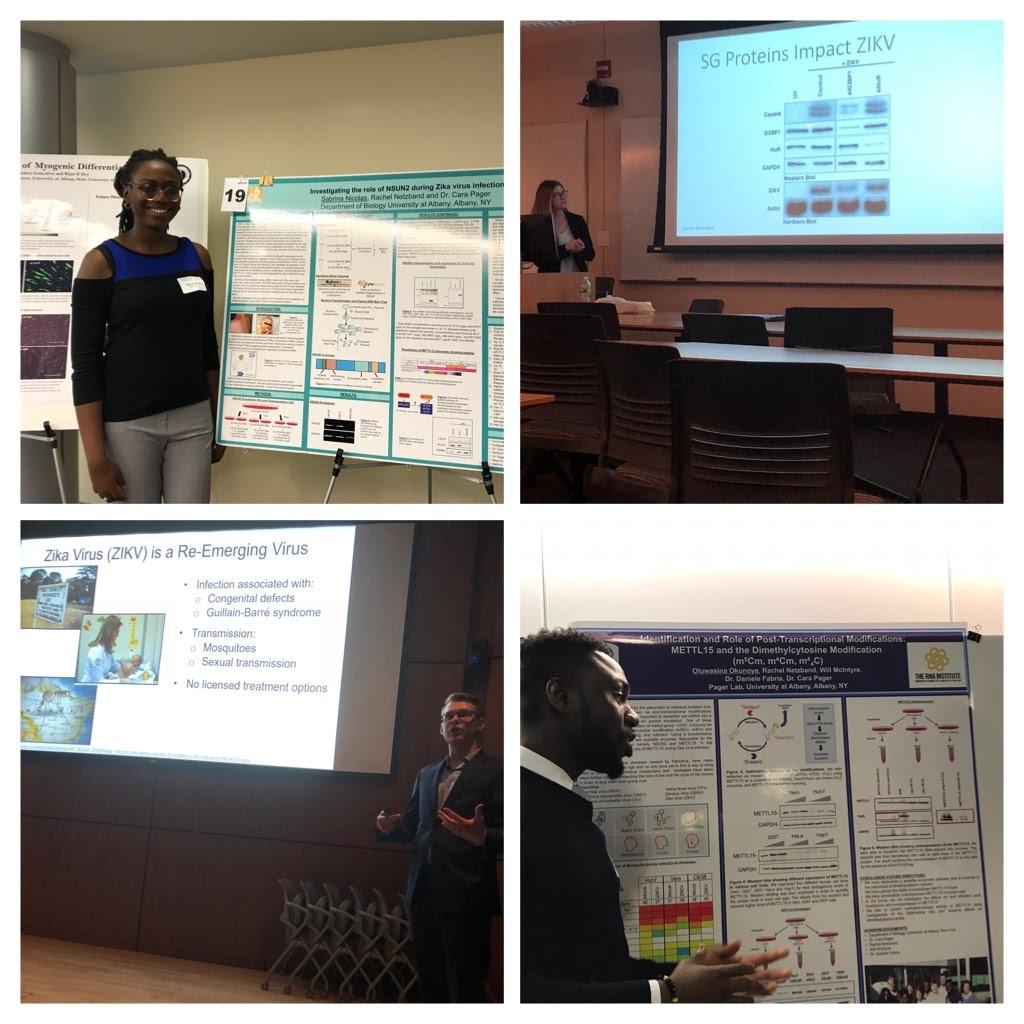 Sabrina, Nina, Kyle and Shina presenting at the UAlbany & Biology department undergraduate research symposium, April 2018.