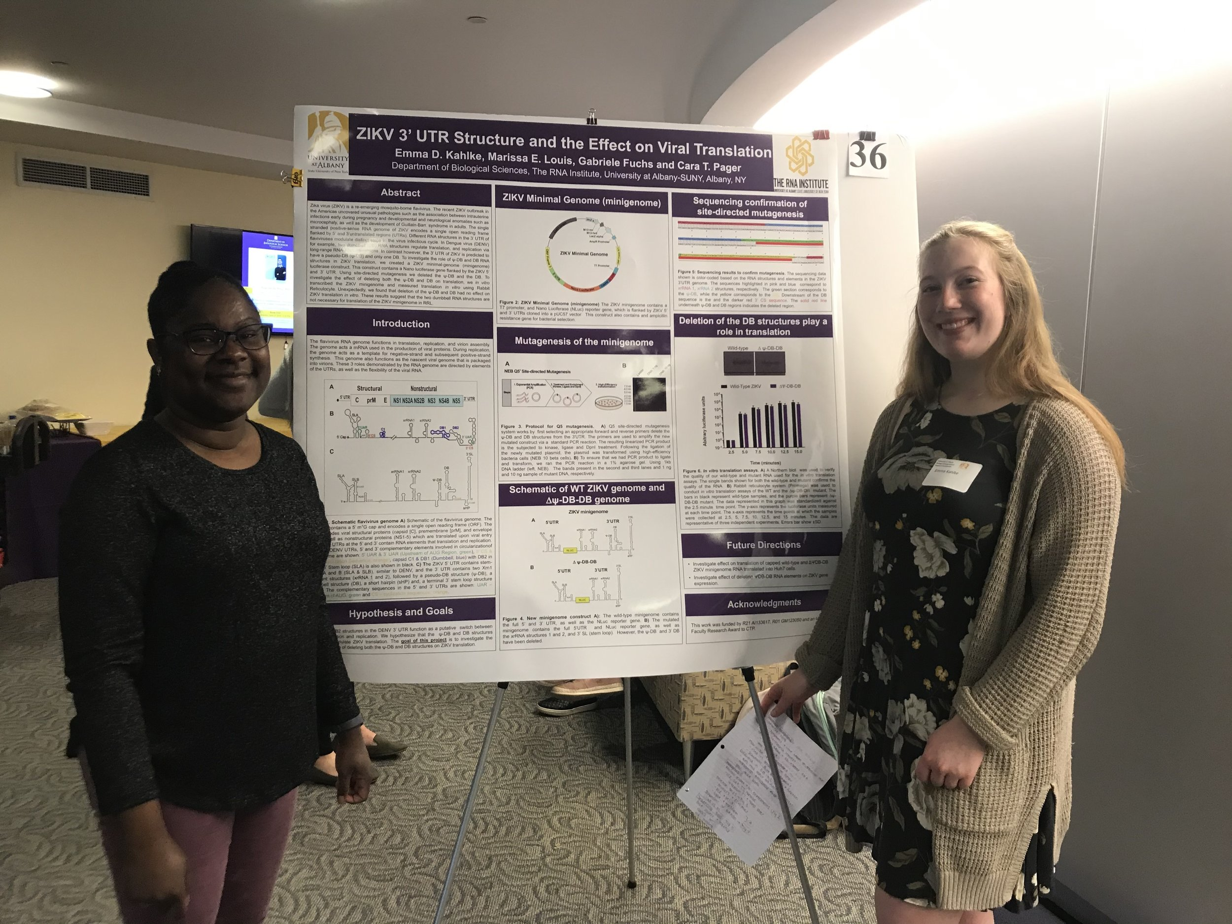 Emma (right) with Marissa (left) presenting her awesome research project at the UAlbany Biology Undergraduate Symposium, April 2019.