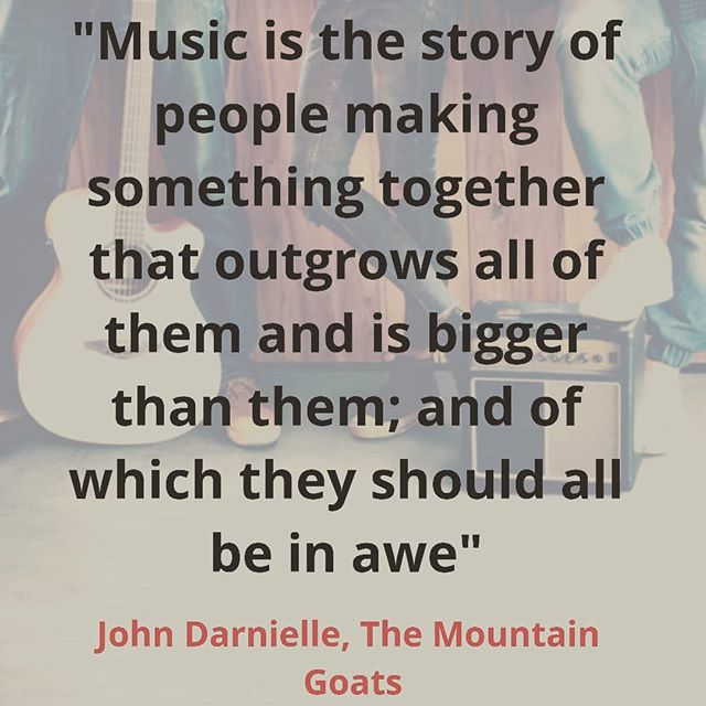 "The magic in music making happens from collaboration that's allowed to truly emerge. Great words from songwriter extraordinaire #johndarnielle of @mountaingoatsmusic. ""Music is the story of people making something together that outgrows all of them and is bigger than them all; and of which they should all be in awe""  Enjoyed listening to this on @songexploder podcast.  #songwriting #musician"