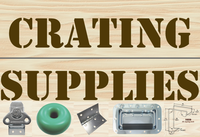 Crating hardware supplies - Wooden crate hardware. Keep it latched locked and loaded! Clamp it down with our small medium and large metal latches butterfly twist locks and spring locks vault clamps. Strap hinges casters and plastic pallet skid doughnut cushions also available. Black skid spacer mate. Pallet cushion donuts come in orange green blue tan and yellow depending on specific density weight loads.