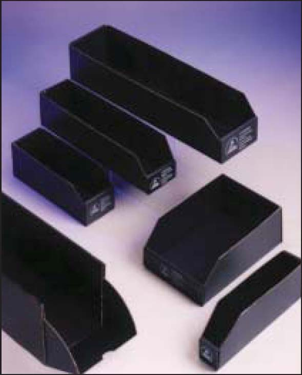 Black conductive bin boxes - ESD Shelf Bins