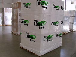 Printed pallet wrapping stretch film