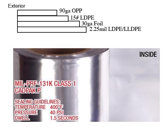Mil-PRF-131K Milb131 4.4mil Film foil poly moisture barrier military roll stock
