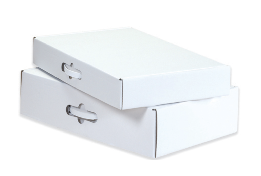 Premade stock sizecarry boxes with handles - Stock Sized Corrugated Mailers With Plastic Handle