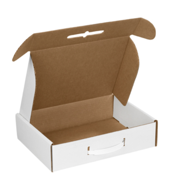 Suitcase Stylecarry boxes - plastic handles insert into die cut holes