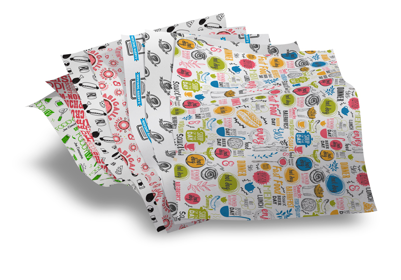 Logo printed white food wrap deli sheets paper wrapping burgers sandwiches