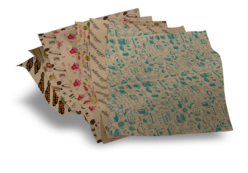 Custom printed brown kraft deli sheets tray liners french fry hamburber hot dog pizza wrapping paper