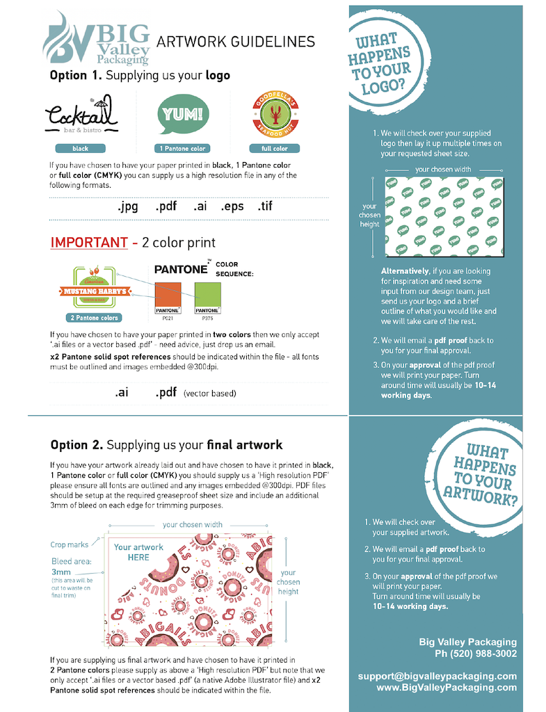 Food wrap paper sheets printing artwork guidelines