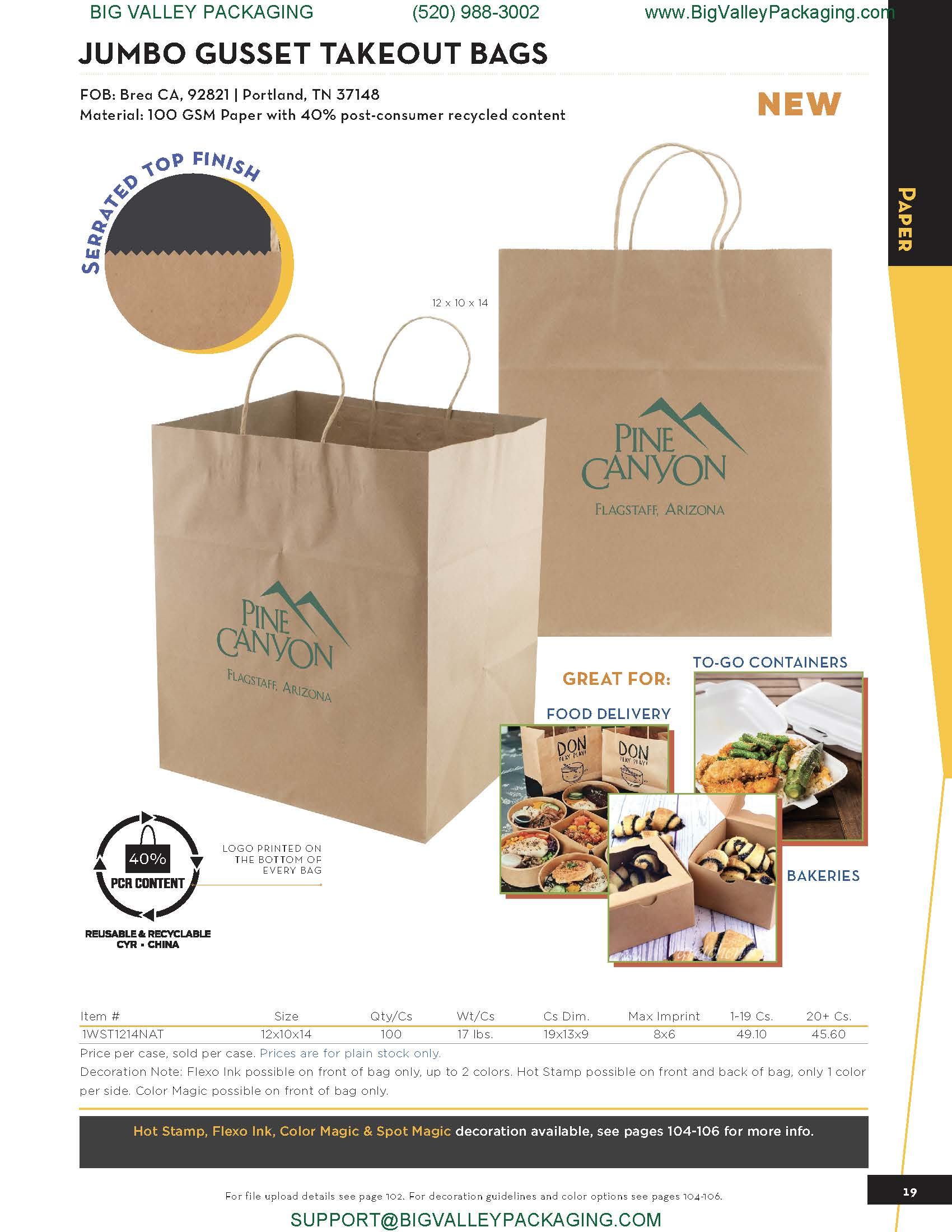 JUMBO GUSSET TAKEOUT BAGS