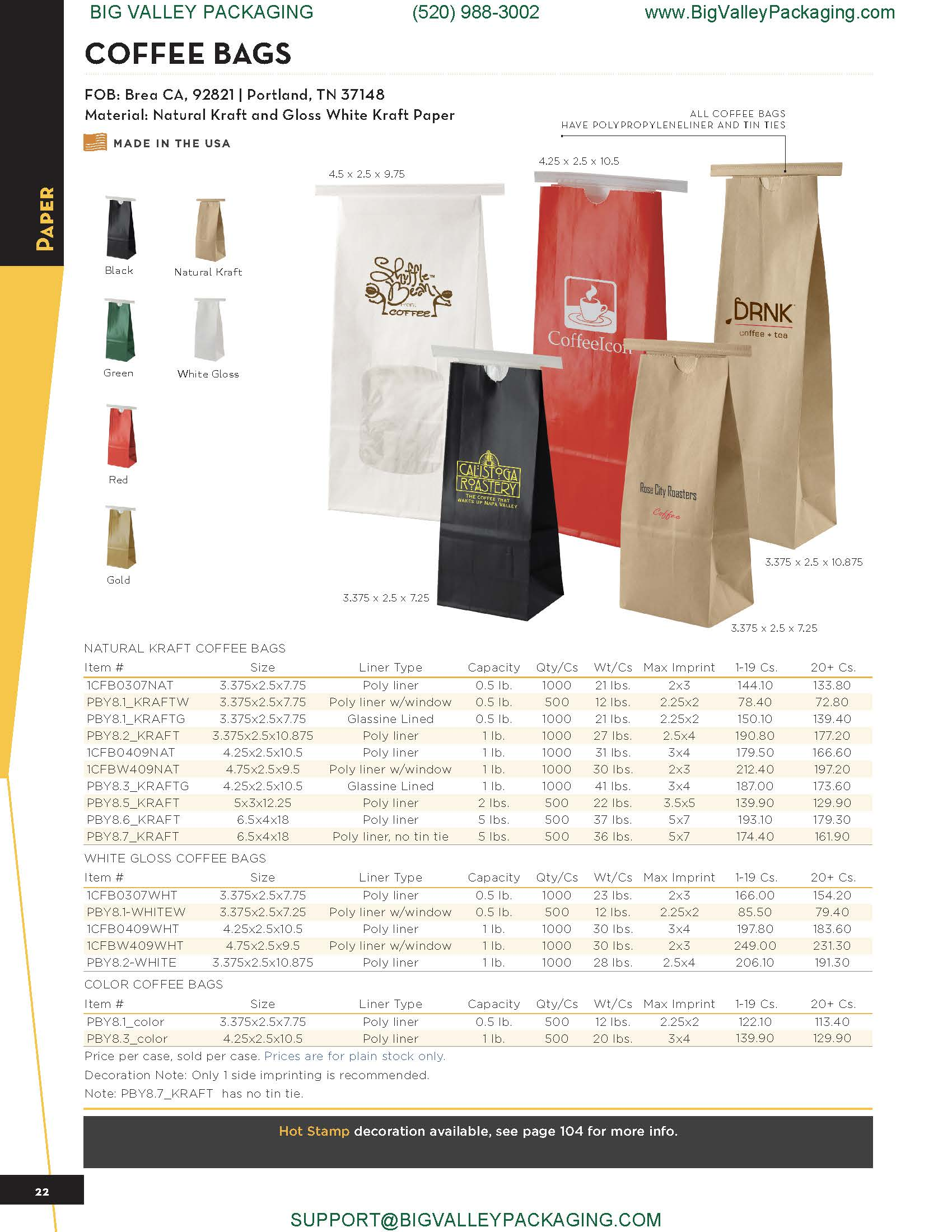 PRINTED PAPER COFFEE BAGS WITH WINDOW