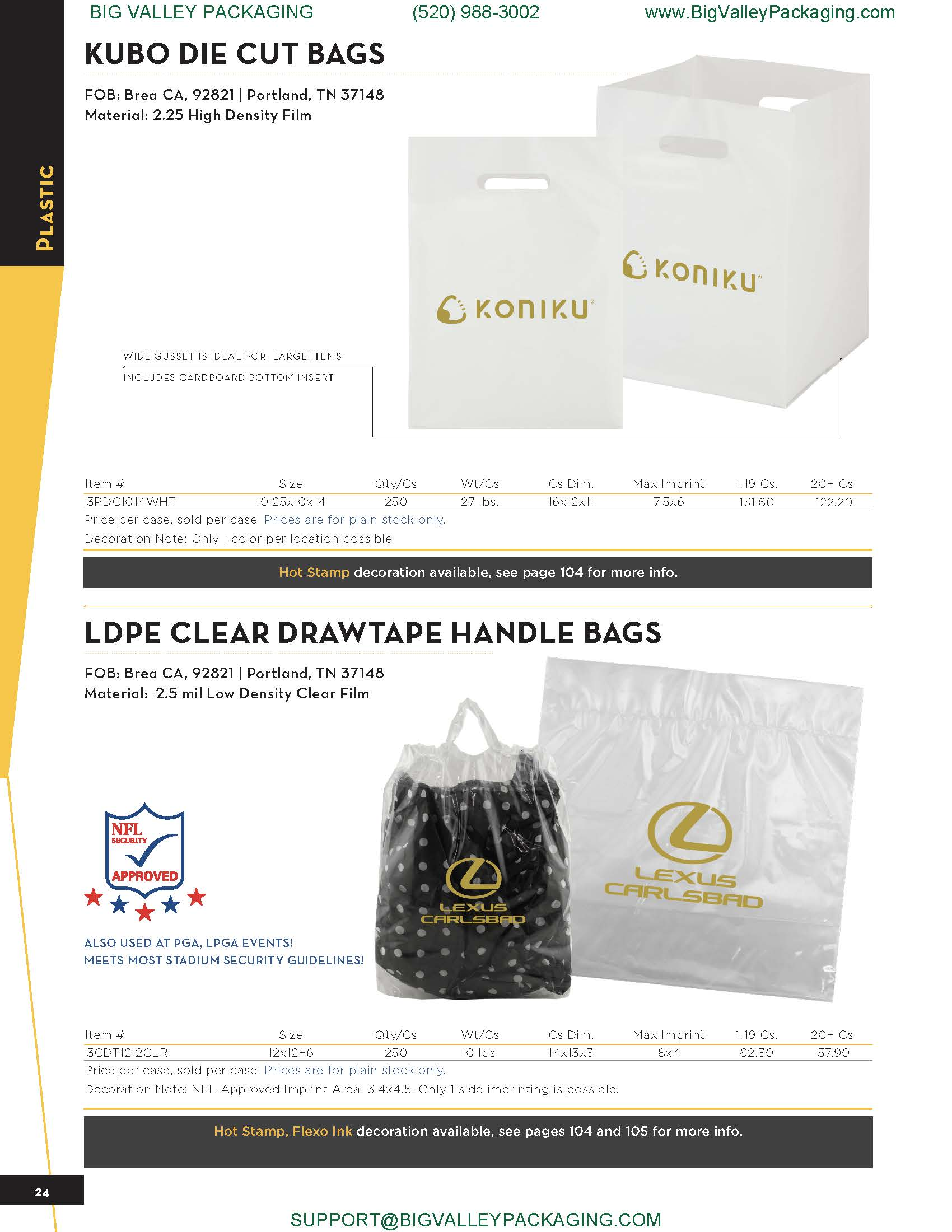 KUBO DIE CUT BAGS LDPE CLEAR DRAWTAPE HANDLE BAGS