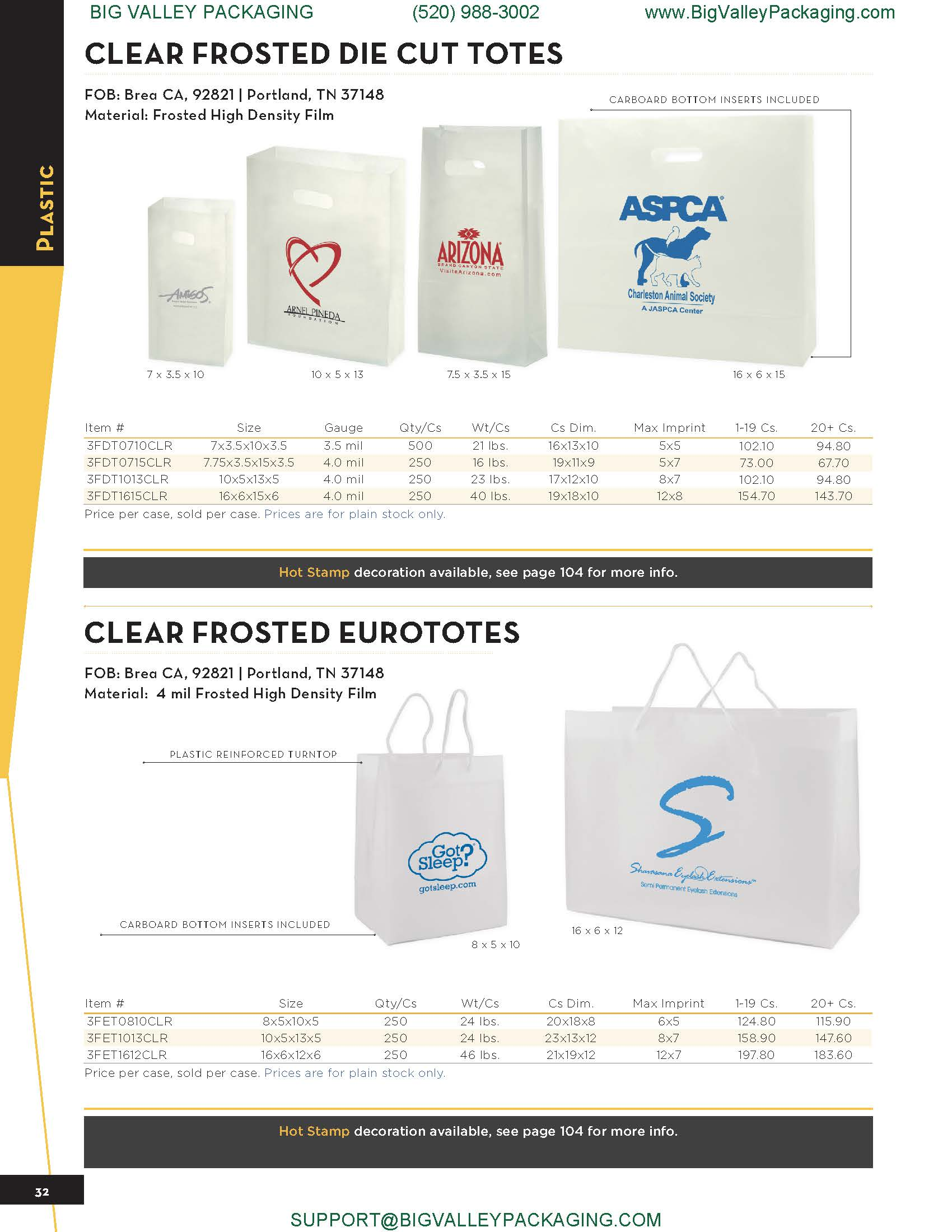 CLEAR FROSTED DIE CUT TOTES EURO