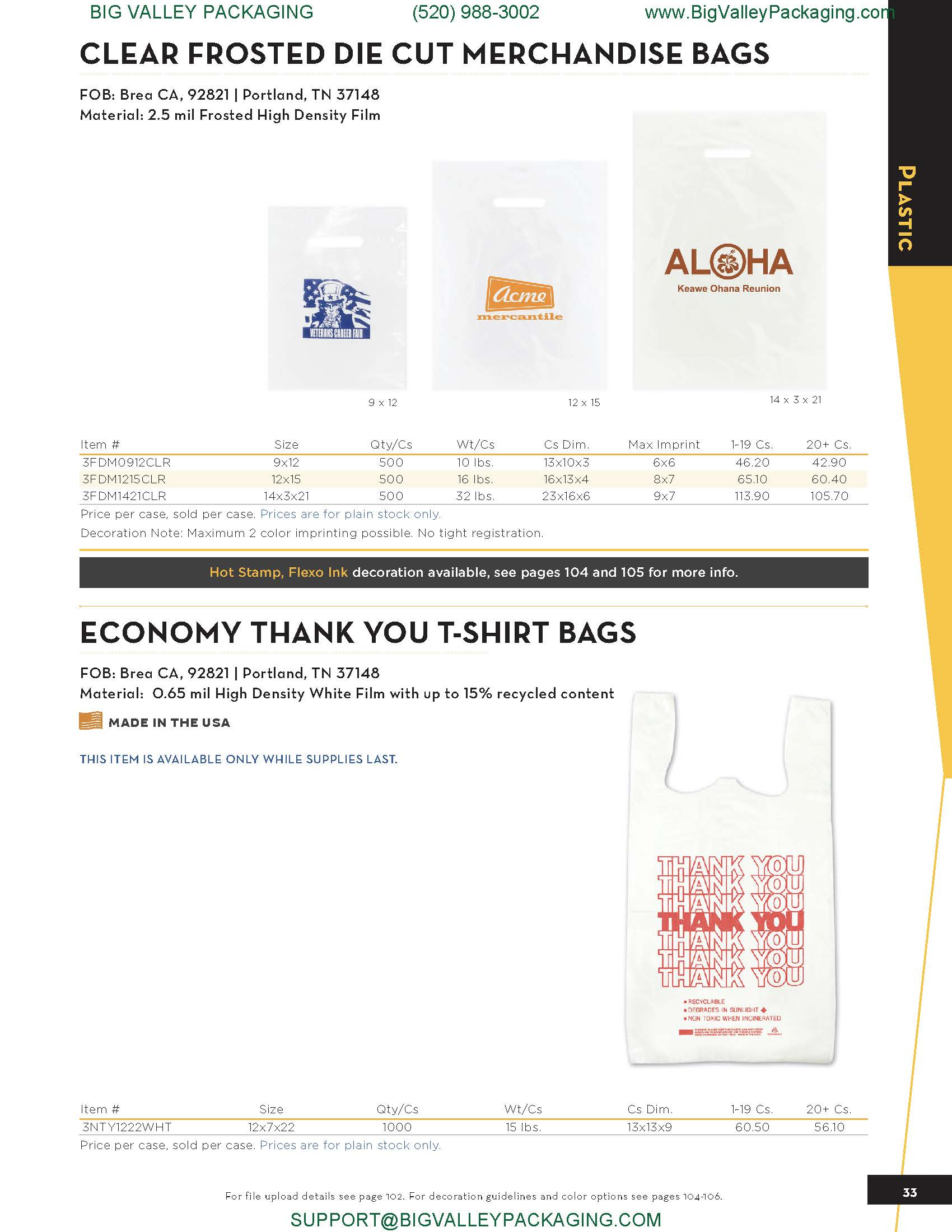 CLEAR FROSTED DIE CUT MERCHANDISE BAGS
