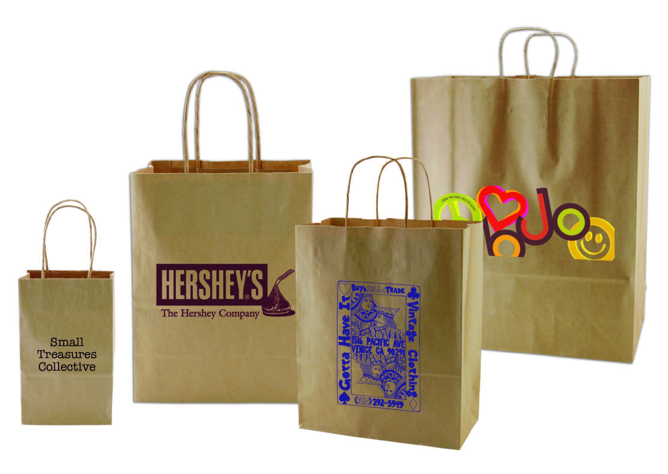 Logo Printed Natural Brown Kraft Paper Handled Shopping Bags