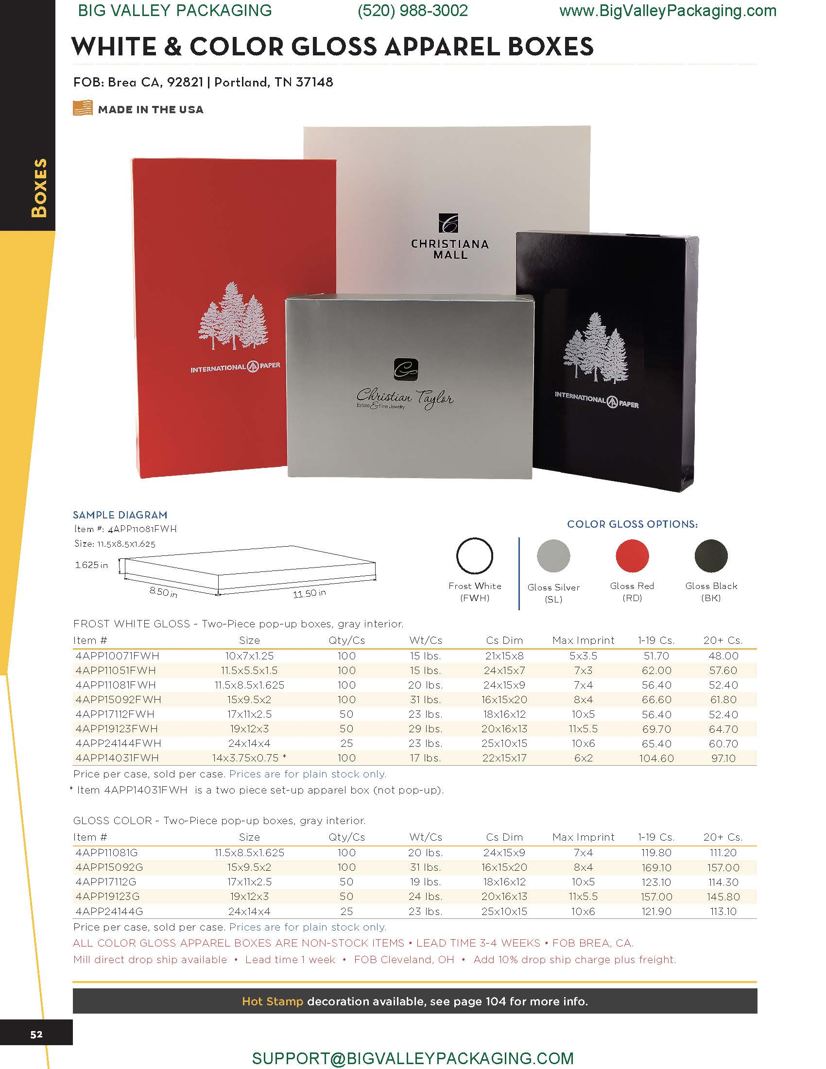 WHITE & COLOR GLOSS LOGO PRINTED APPAREL BOXES