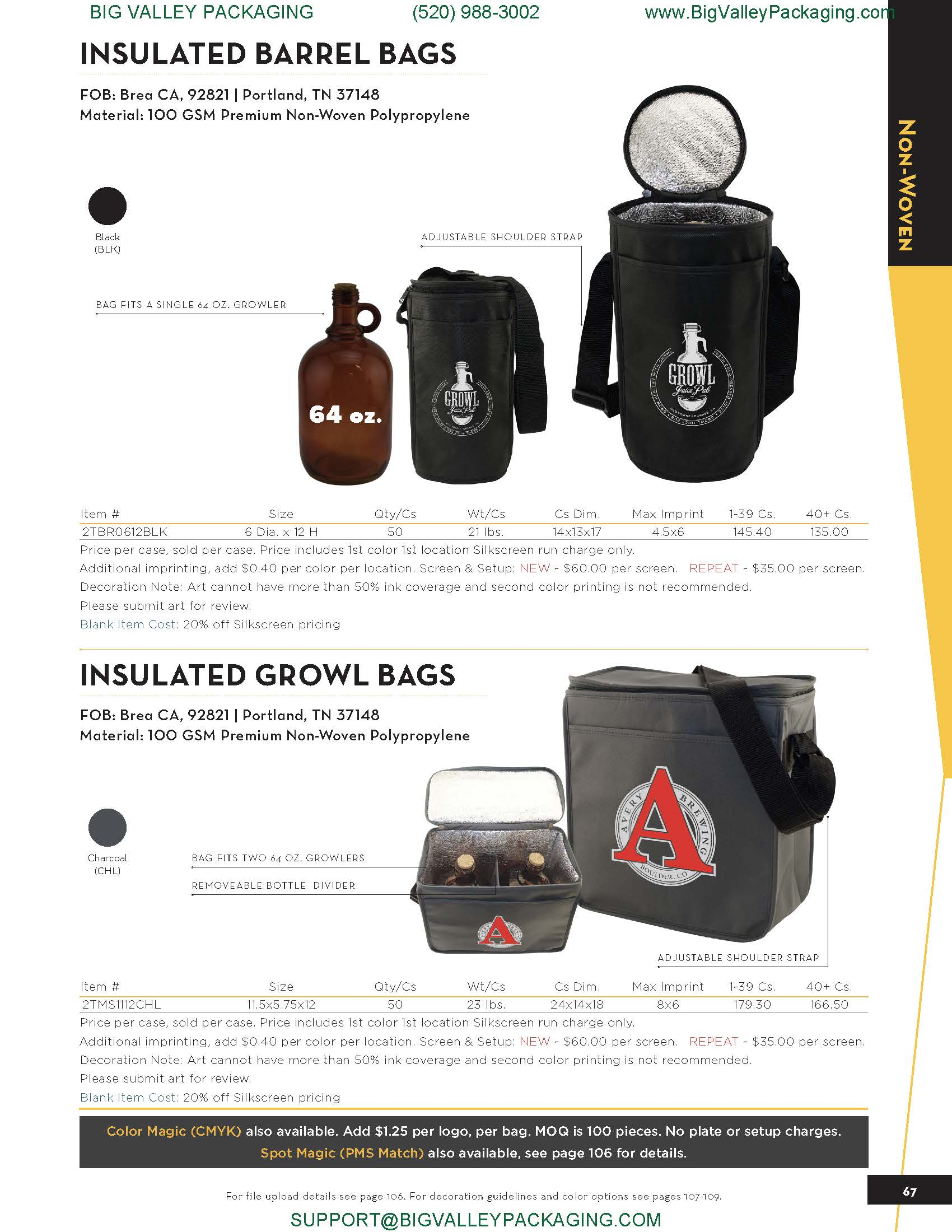 INSULATED BARREL GLASS BOTTLE BAGS