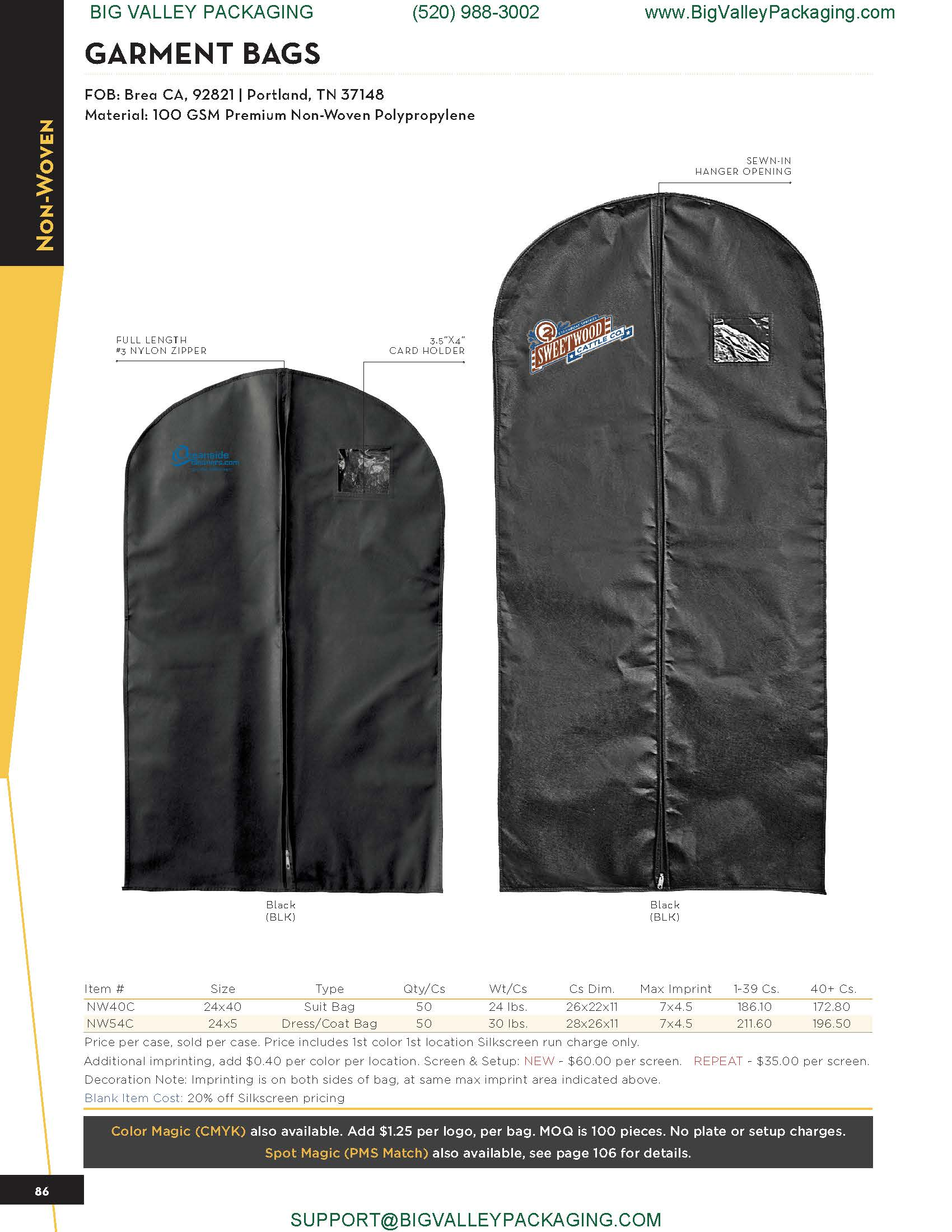 GARMENT BAGS DRY CLEANER CLOTHING