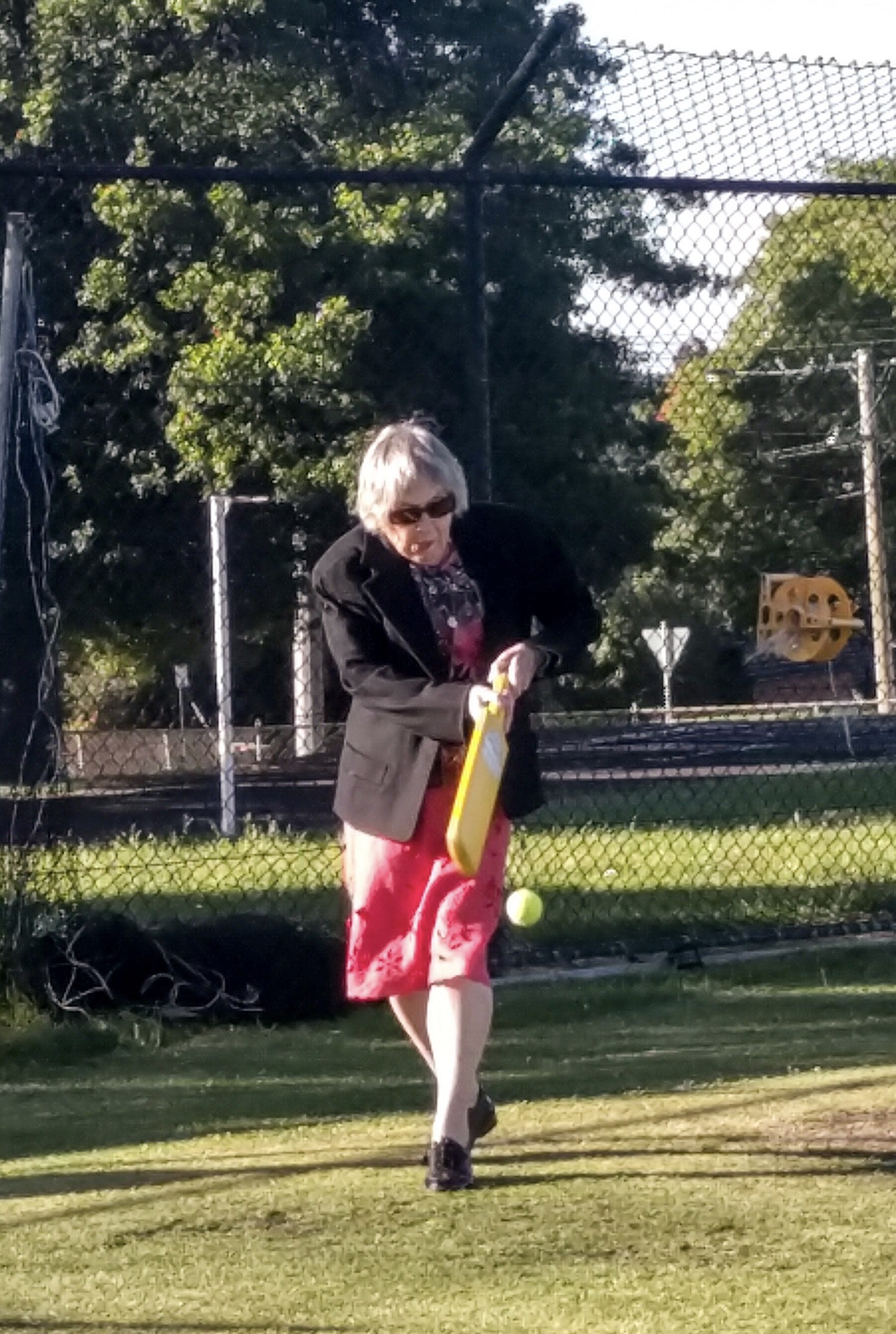 The post-Christmas lunch cricket match gets pretty serious in our family. Here mum clips one off the legs for a couple of runs