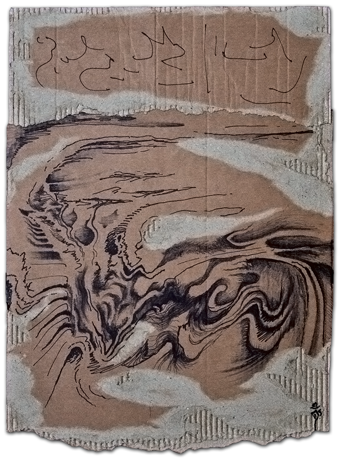 REV 10:6, Sharpie marker on cardboard, 8.5in x 12in