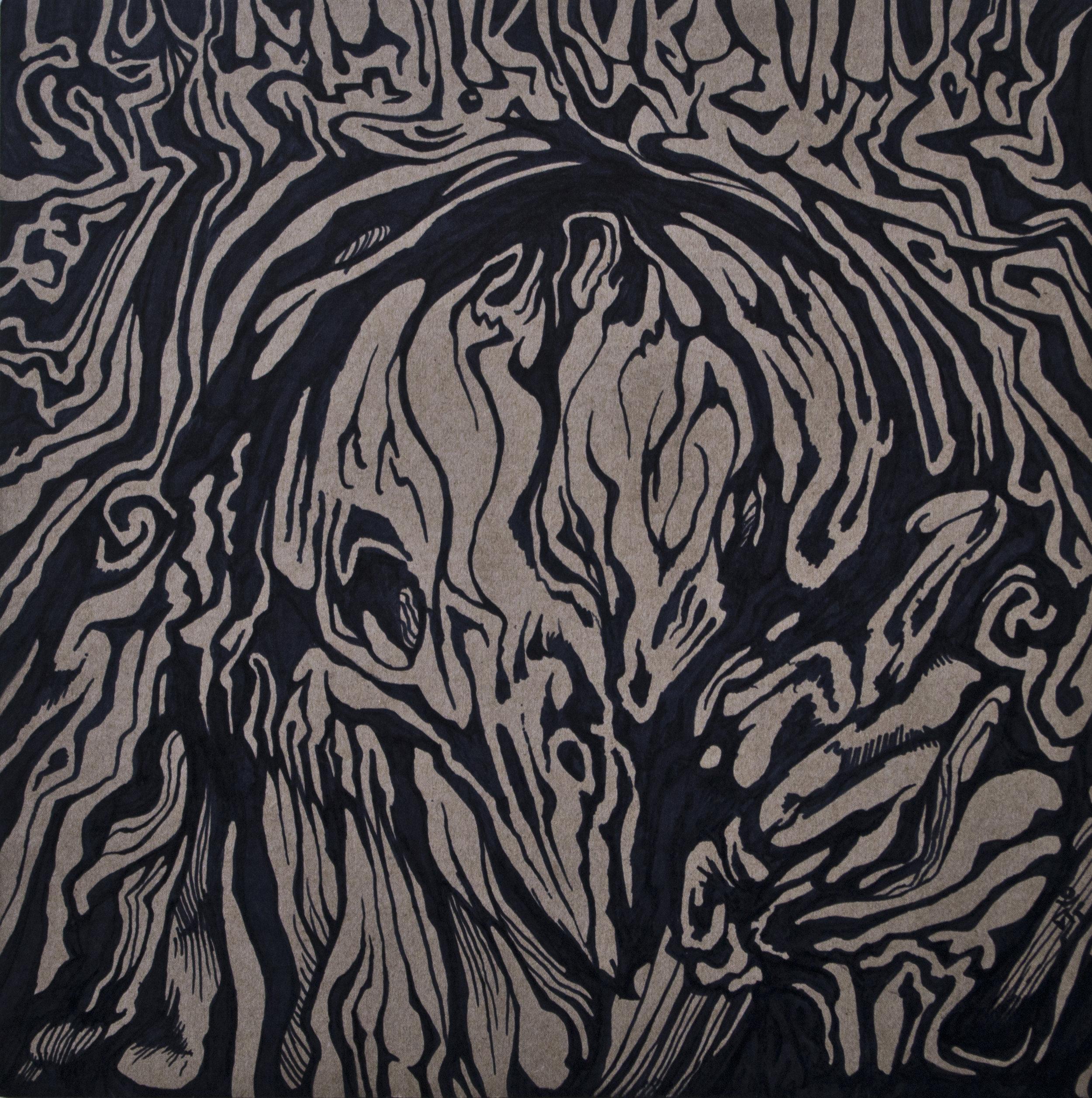 Effigy, Sharpie marker on cardboard, 11.75in x 12in