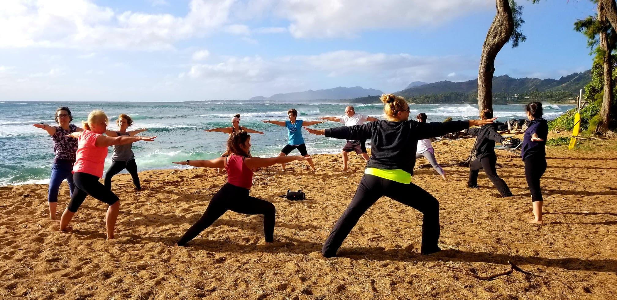 Kauai Yoga on the Beach - 420 Papaloa Rd, Kapaa, HI 96746On the beachfront of Kauai Shores Resort aside Lava Lava Beach Club | EVERYDAY @ 8:30-9:45amSAMSATI's Hatha Flow | Wednesday & Saturday$20 cash in person | $10 kamaʻāina