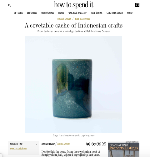 "How to Spend It - Financial Times ""A Covetable Cache of Indonesian Crafts"" 2017.   https://howtospendit.ft.com/house-garden/121443-a-covetable-cache-of-indonesian-crafts"