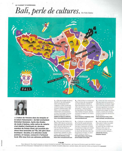 Le Magasin du Monde, Interview with Canaan's Founder Emmelyn Gunawan about living in Bali - 2016.   https://www.asia.fr/cxfile/article/2755_2764_asia-presse-2016-10-le_magazine-du-monde.pdf