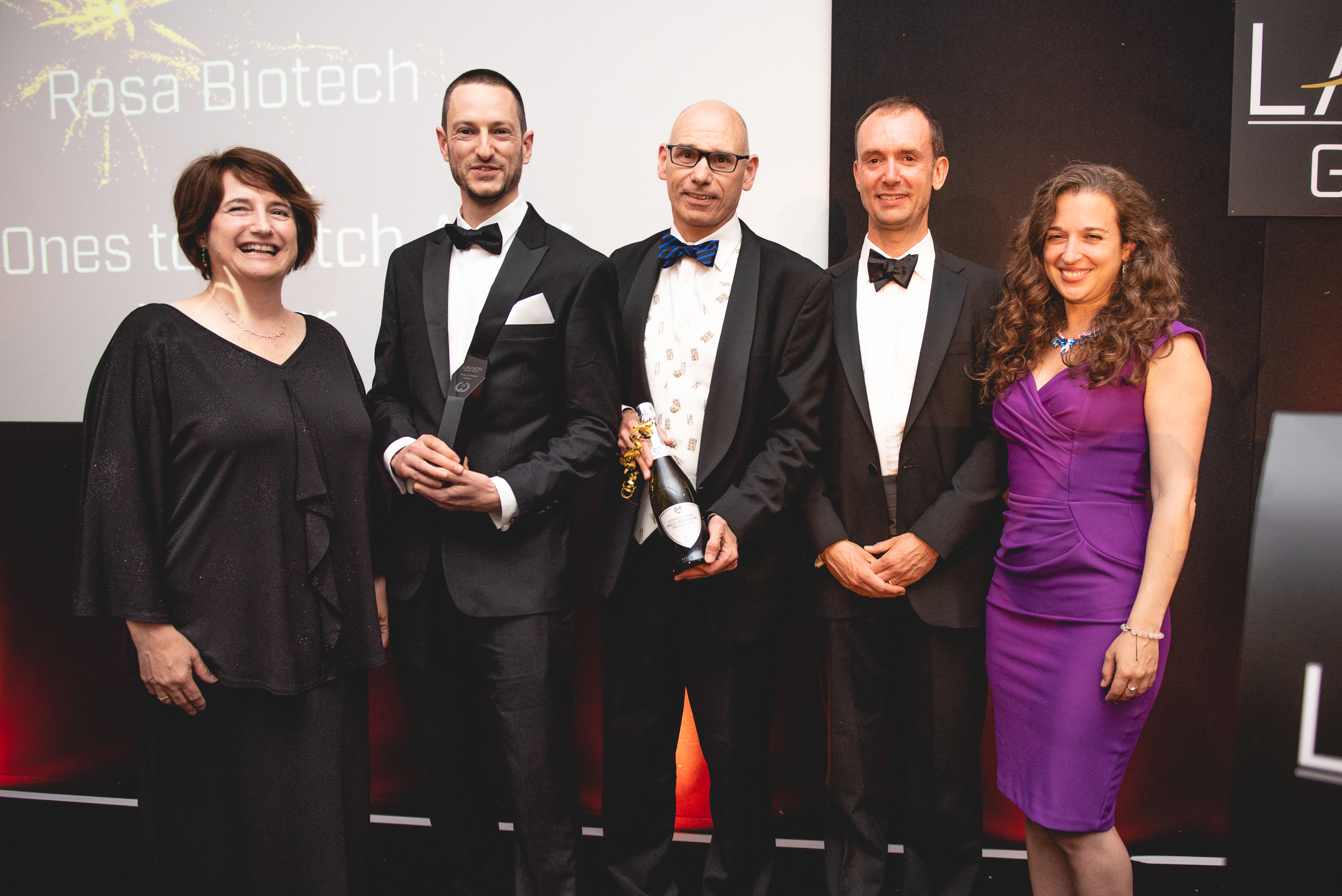 Rosa Biotech team, winners of the Ones to Watch Award with award sponsors from Research and Enterprise Development, University of Bristol  L to R; Jaci Barnett, Dr Andy Boyce, Prof. Dek Woolfson, Dr Jon Hunt, Dr Emily Grossman