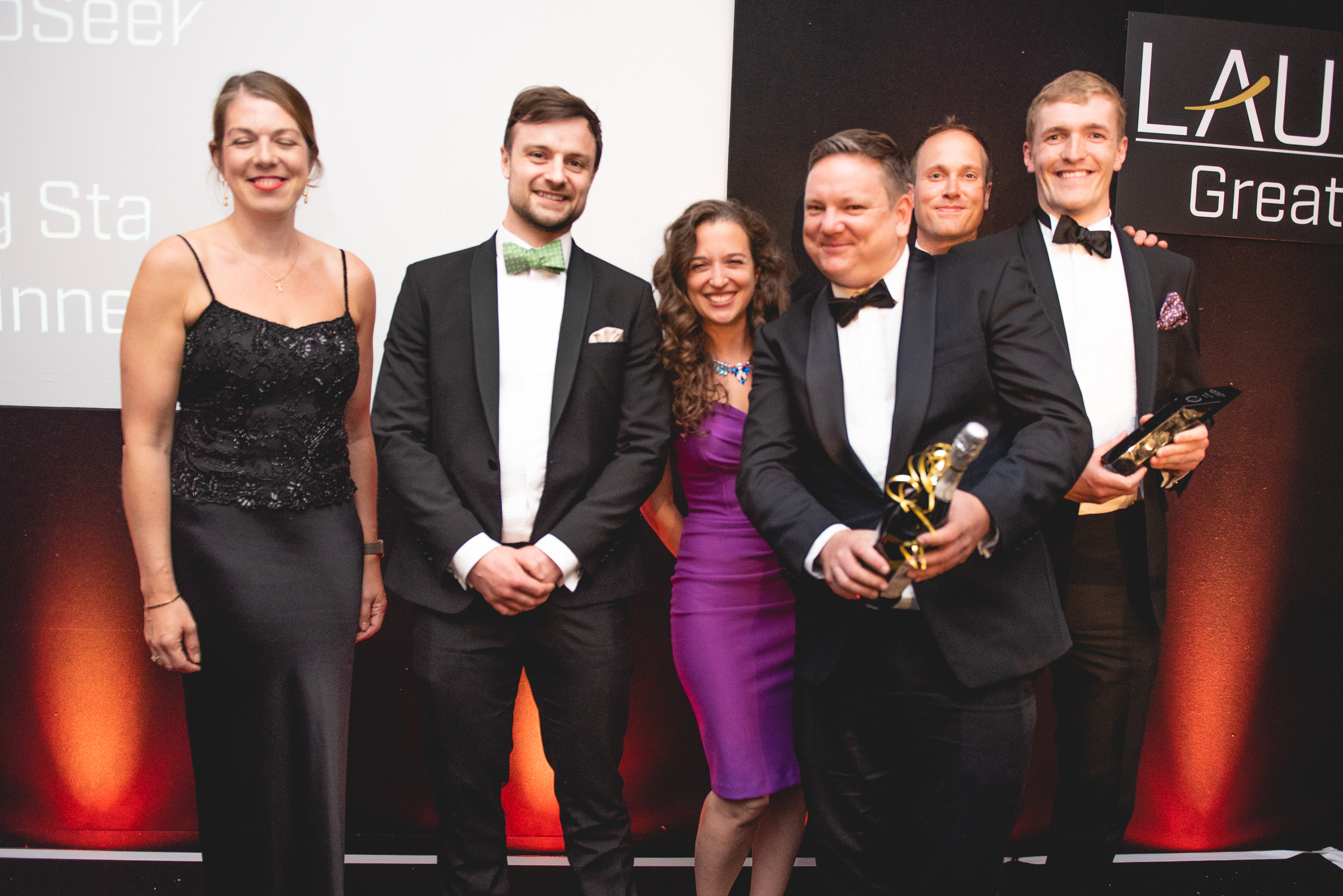 CytoSeek Team, winners of the Rising Star Award, sponsored by University of Bristol and SETsquared Bristol  L to R: Lucinda Parr, Dr Tom Green, Dr Emily Grossman, Dr Adam Perriman, Dr Ben Carter