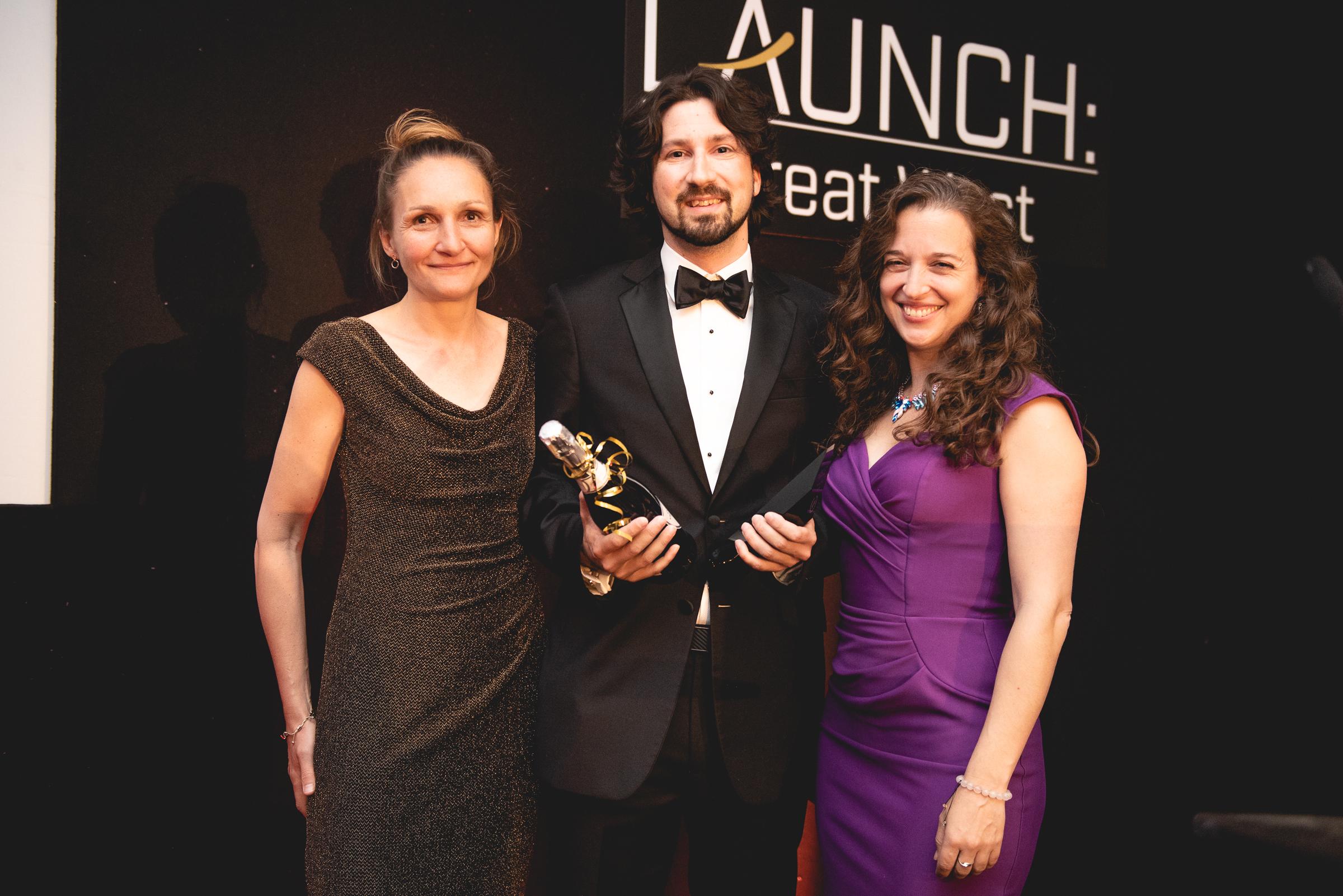 Ultrahaptics, winners of the Rocket Fuel Award, sponsored by University of Bath and Bath SETsquared  L to R; Rosie Bennett, Rob Blenkinsopp, Dr Emily Grossman