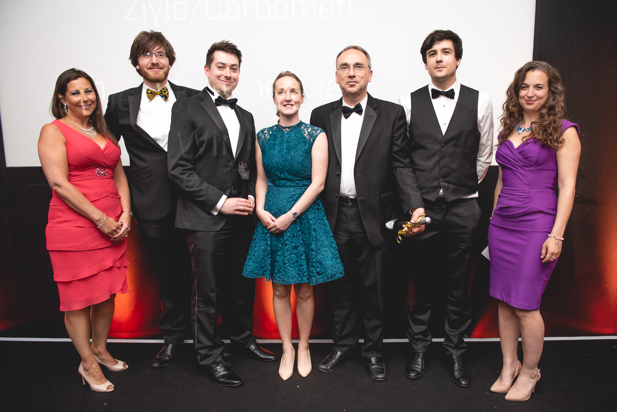 Ziylo/Carbometrics Team, winners of the Deal of the Year Award, sponsored by TLT  L to R; Nina Searle,  Dr Mike Tompsett, Dr Robert Tromans, Dr Miriam Wilson, Dr Mike Orchard, Dr Harry Destecroix,  Dr Emily Grossman