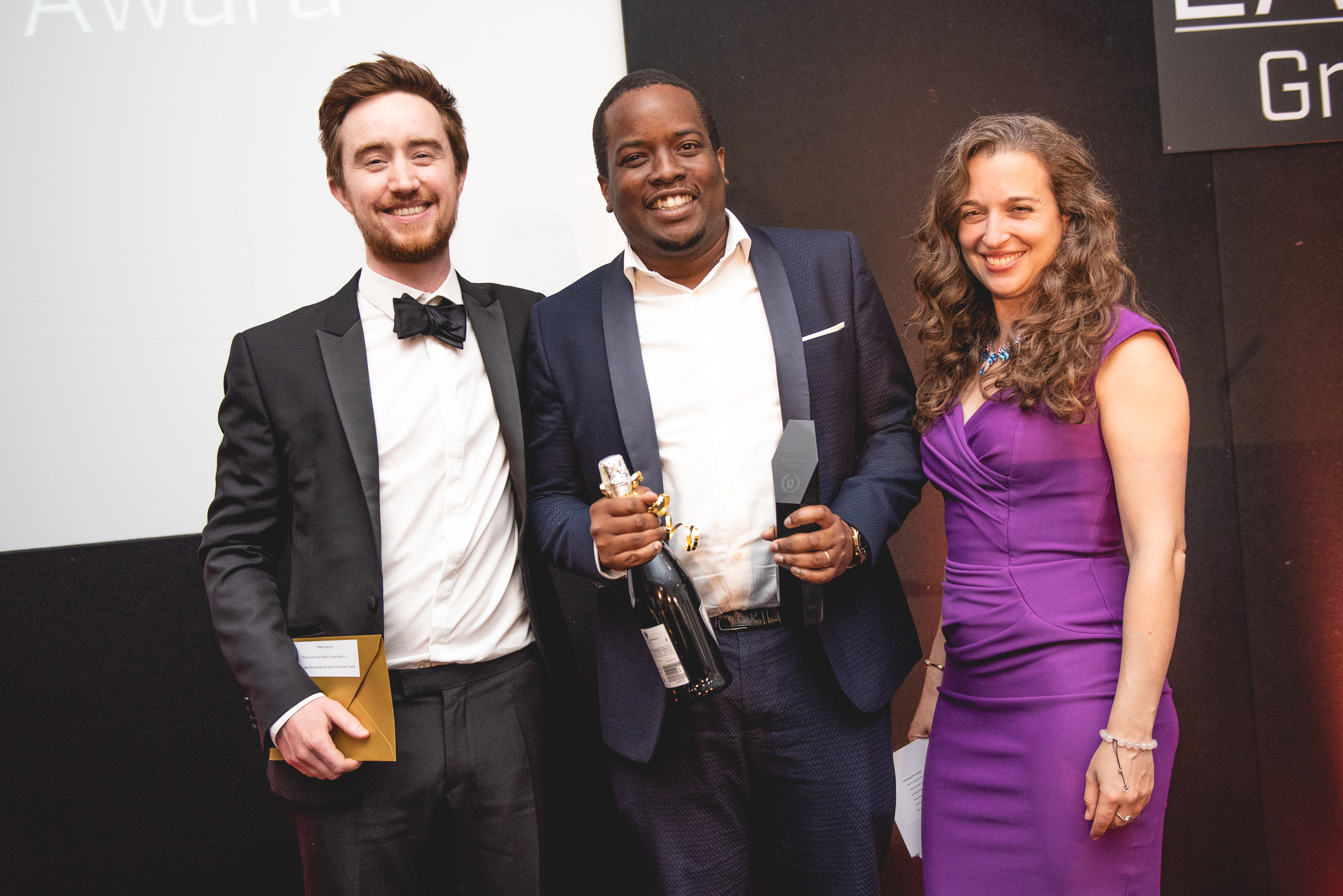 FluoretiQ, winner of the People's Choice Award sponsored by Future Space  L to R: Marty Reid, Dr Neciah Dorh, Dr Emily Grossman