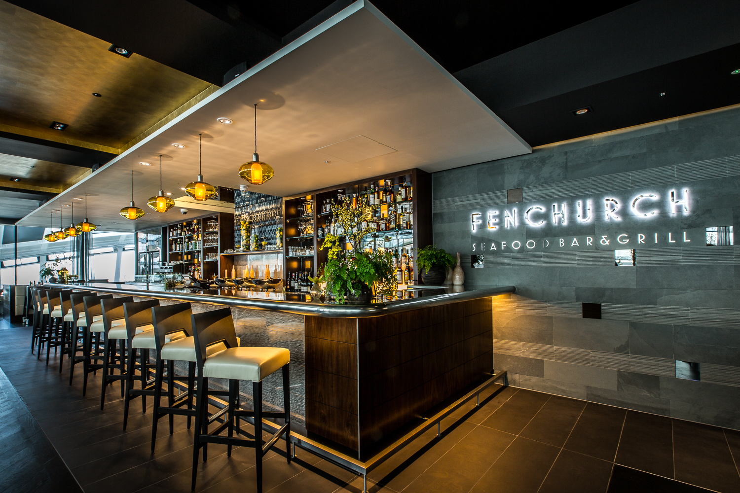 Fenchurch Seafood Bar & Grill   A sophisticated seafood restaurant with a design inspired by the surrounding cityscape, Fenchurch Seafood Bar & Grill occupies the top floor of the famous 'Walkie Talkie' building.