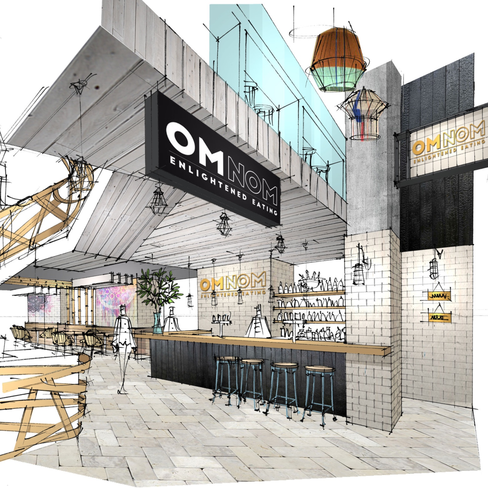 OmNom   Coming soon to Islington, London. The flagship OMNOM unit will comprise over 400 square meters of restaurant and wellbeing space (mindfulness/yoga) over two floors.