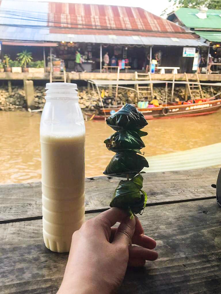 Miang Kham Skewer and Soy Milk
