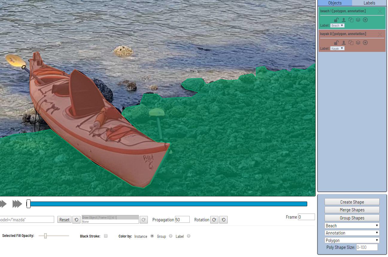 Figure 5: Computer Vision Annotation Tool - Image Segmentation