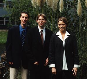 Het eerste bestuur der S.V. LIFE:  Emile Bol, Wouter van der Star and Judith van der Zwan