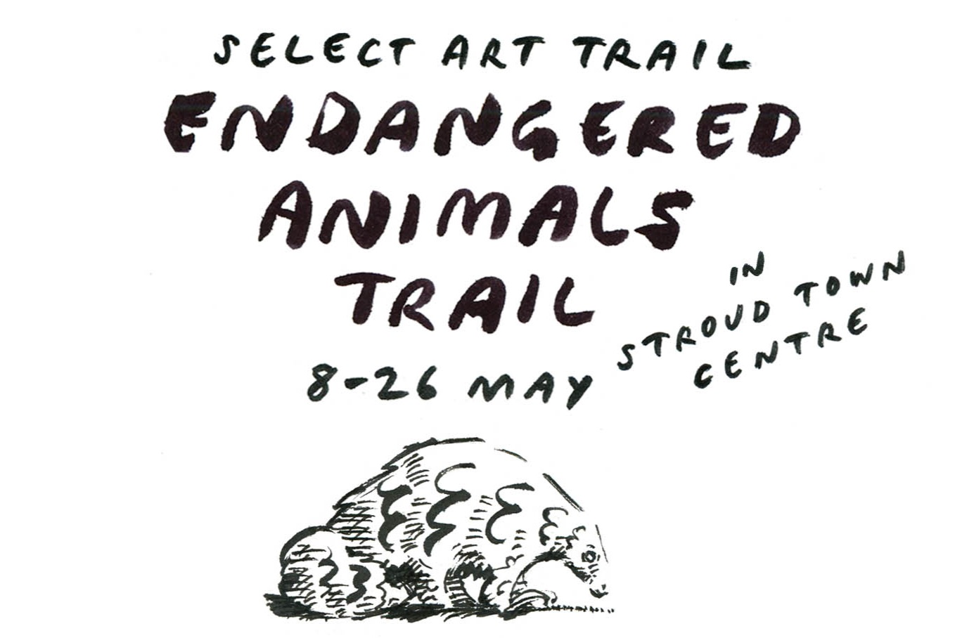- A trail for families and children that I designed for SITSelect festival, taking place between the 8th and 26th of May 2019.Participants pick up a leaflet which they fill in with the names of ten animals represented in shop windows in Stroud town centre. Then they take their completed leaflet they take it to local conservation charity Stroud Valleys Project and pick up a free badge.Thanks to Stroud Festival for funding this.