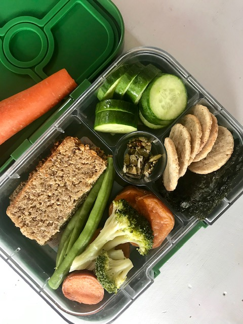Raw carrot, Pure Life bread, beans, cucumber, broccoli, sweet potato, nori, rice crackers, pumpkin seed bites. -