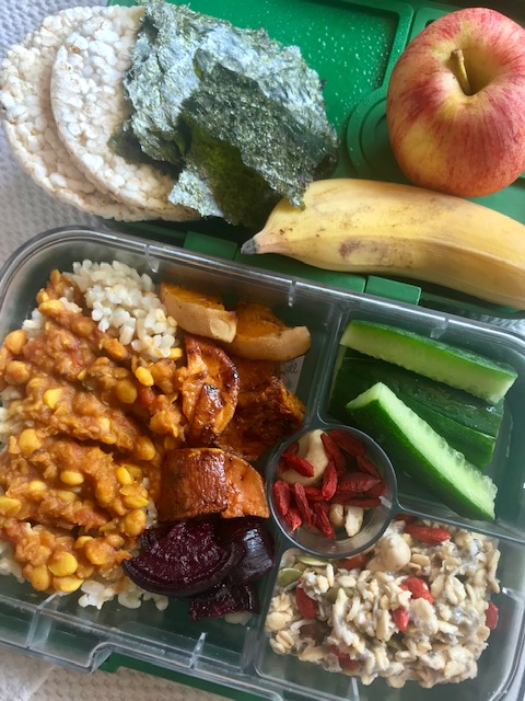 Brown rice & kitchari, roasted veggies, cucumber, overnight oats, goji berries + cashews, rice cakes, nori, banana + apple. -