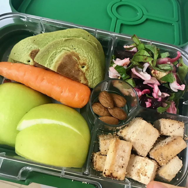 tofu, salad, pancakes, apple, carrot, almonds -